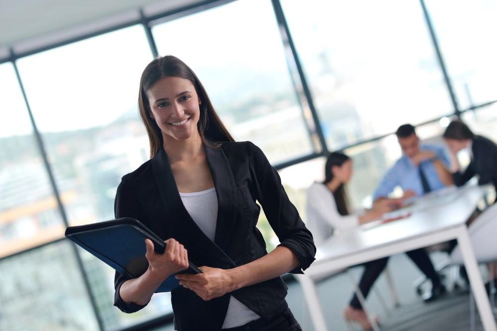 Businesswoman holding folder